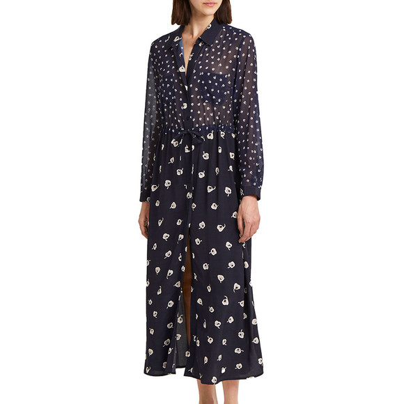 French Connection Womens Blue Adelise Drape Midi Shirt Dress main image