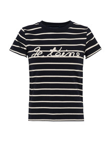 French Connection Womens Blue Tim Tim Francais Rope Slogan T-Shirt