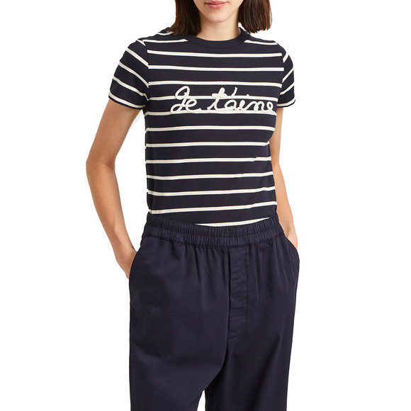 French Connection Womens Blue Tim Tim Francais Rope Slogan T-Shirt main image