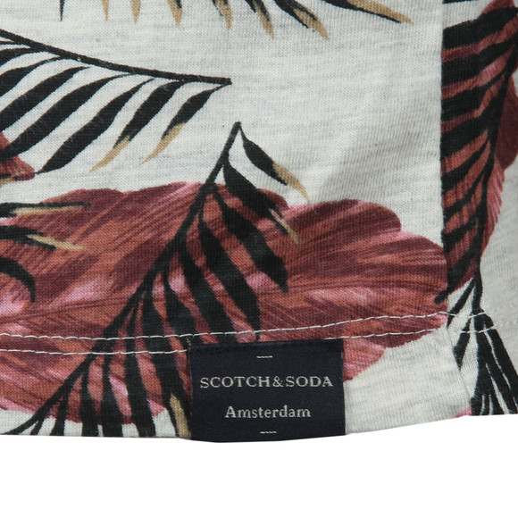 Scotch & Soda Mens Grey Crew Neck Floral Print T Shirt main image