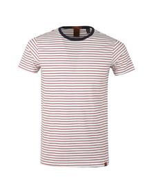 Scotch & Soda Mens White Crew Neck Striped T Shirt