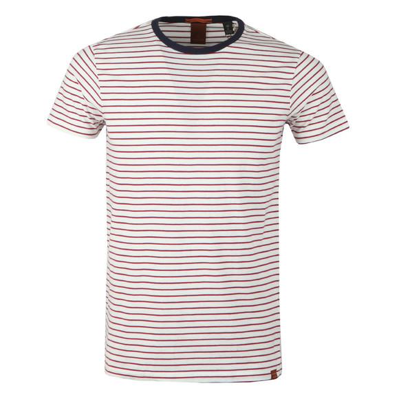 Scotch & Soda Mens White Crew Neck Striped T Shirt main image