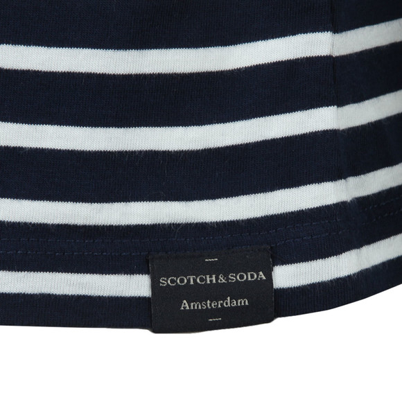 Scotch & Soda Mens Blue Crew Neck Striped T Shirt main image