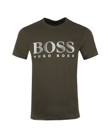 BOSS Bodywear Mens Green Regular Fit Large Logo T Shirt