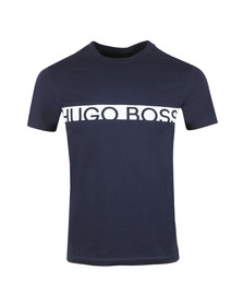 BOSS Bodywear Mens Blue Slim Fit Large Logo T Shirt