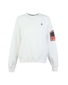 Polo Ralph Lauren Womens White Relaxed Flag Crew Neck Sweat