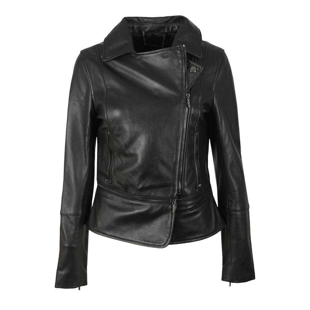 Yaswin Zip Hem Leather Biker Jacket main image