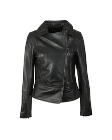 Ted Baker Womens Black Yaswin Zip Hem Leather Biker Jacket