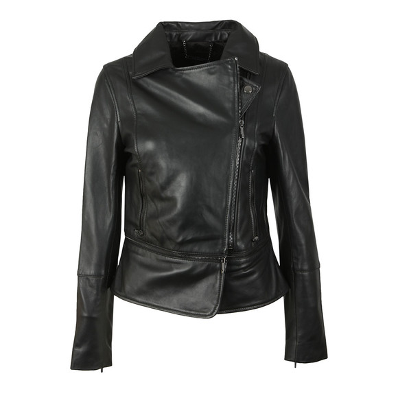 Ted Baker Womens Black Yaswin Zip Hem Leather Biker Jacket main image