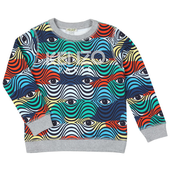 Kenzo Kids Boys Blue Logo Multi Pattern Sweatshirt