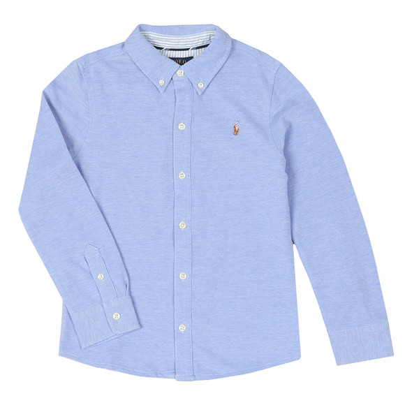 Polo Ralph Lauren Boys Blue Long Sleeve Knit Oxford Shirt main image