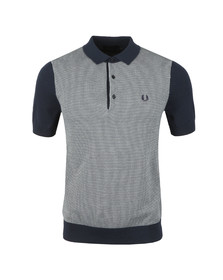 Fred Perry Mens Blue Two Colour Knitted Polo Shirt