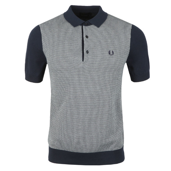 Fred Perry Mens Blue Two Colour Knitted Shirt main image