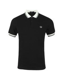 Fred Perry Mens Black Contrast Rib Pique Polo Shirt