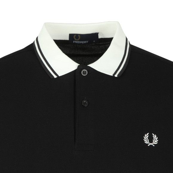 Fred Perry Mens Black Contrast Rib Pique Polo Shirt main image
