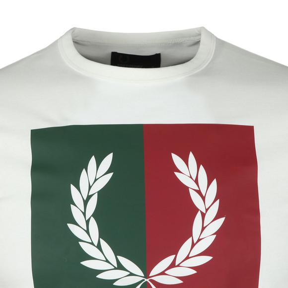Fred Perry Mens Off-White Split Laurel Wreath Tee main image