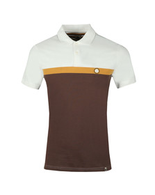 Pretty Green Mens Brown Front Colour Block Polo
