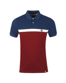 Pretty Green Mens Red Front Colour Block Polo