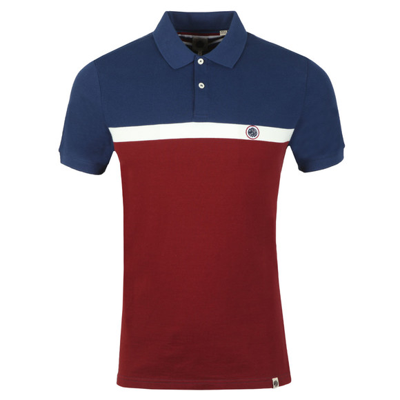 Pretty Green Mens Red Front Colour Block Polo main image