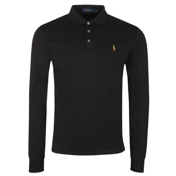 Polo Ralph Lauren Mens Black Long Sleeve Slim Fit Pima Cotton Polo Shirt