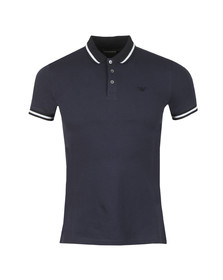 Emporio Armani Mens Blue Contrast Collar Polo Shirt