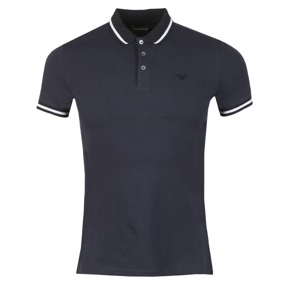 Emporio Armani Mens Blue Contrast Collar Polo Shirt main image