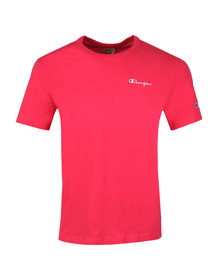 Champion Reverse Weave Mens Pink Small Script Logo T Shirt