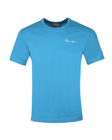 Champion Mens Blue Reverse Weave Small Script Logo T Shirt