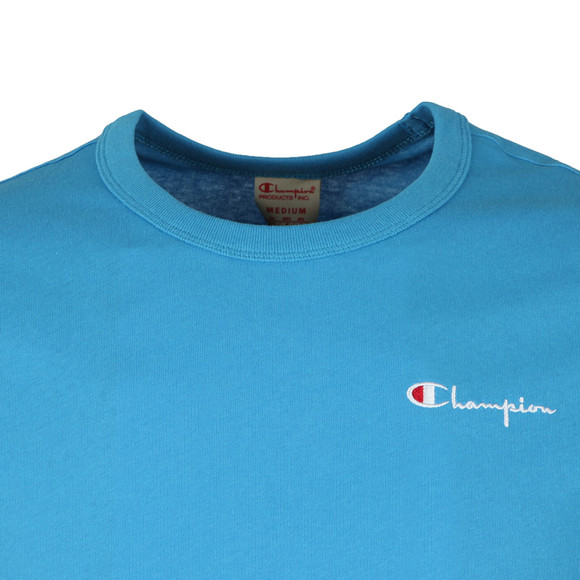 Champion Mens Blue Reverse Weave Small Script Logo T Shirt main image