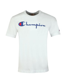 Champion Reverse Weave Mens White Script Logo T Shirt