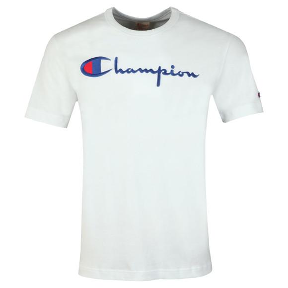 Champion Reverse Weave Mens White Script Logo T-Shirt