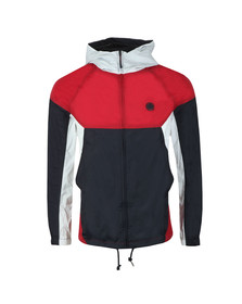 Pretty Green Mens Red Zipthrough Hooded Contrast Jacket