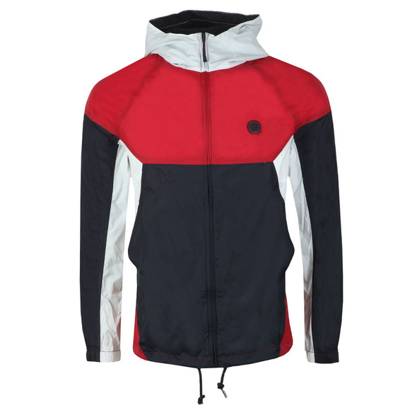 Pretty Green Mens Red Zipthrough Hooded Contrast Jacket main image