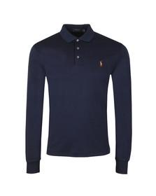 Polo Ralph Lauren Mens Blue Long Sleeve Slim Fit Pima Cotton Polo Shirt
