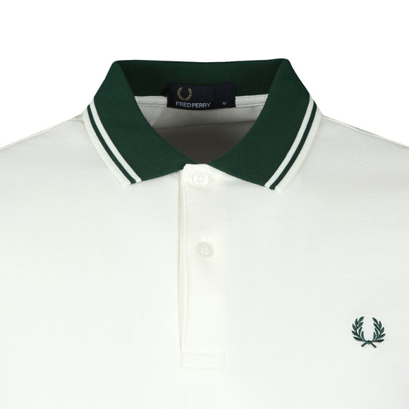Fred Perry Mens White Contrast Rib Pique Polo Shirt main image