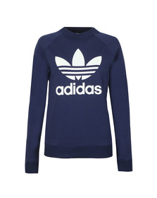 adidas Originals Womens Blue Large Trefoil Crew Sweatshirt