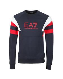 EA7 Emporio Armani Mens Blue Sleeve Detail Crew Sweatshirt
