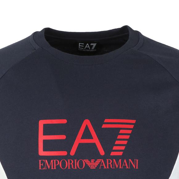 EA7 Emporio Armani Mens Blue Sleeve Detail Crew Sweatshirt main image