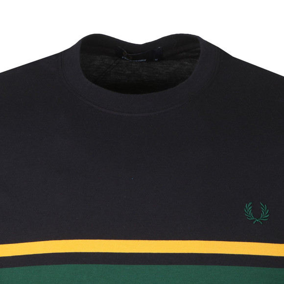 Fred Perry Mens Blue Colour Block Tee main image