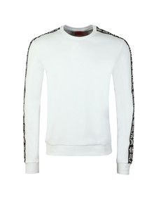 HUGO Mens White Doby Tape Sweatshirt