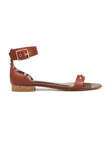 Ted Baker Womens Brown Ovey Studded Bow Detail Flat Sandal