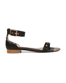 Ted Baker Womens Black Ovey Studded Bow Detail Flat Sandal