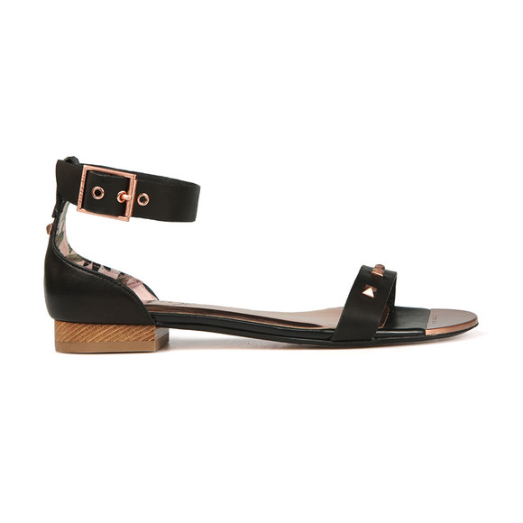 Ted Baker Womens Black Ovey Studded Bow Detail Flat Sandal main image