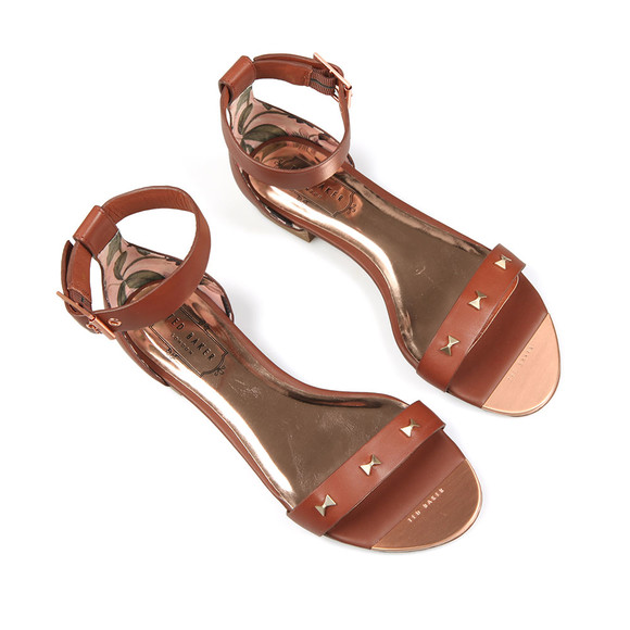 Ted Baker Womens Brown Ovey Studded Bow Detail Flat Sandal main image