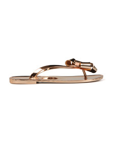 Ted Baker Womens Bronze Glamari Bow Detail Jelly Flip Flop