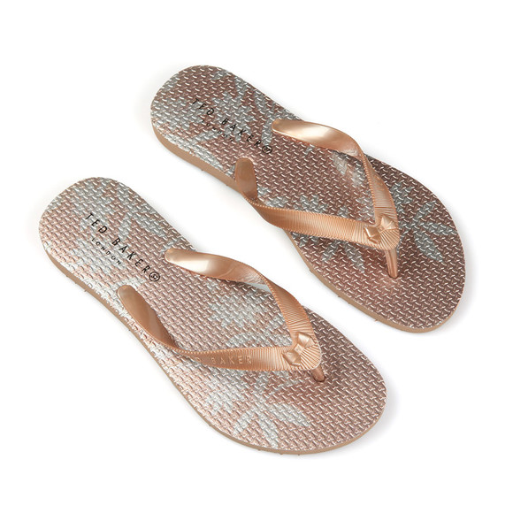 Ted Baker Womens Pink Beaulam Printed Mini Bow Flip Flop main image