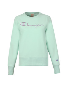 Champion Reverse Weave Womens Green Large Script Logo Crew Sweatshirt