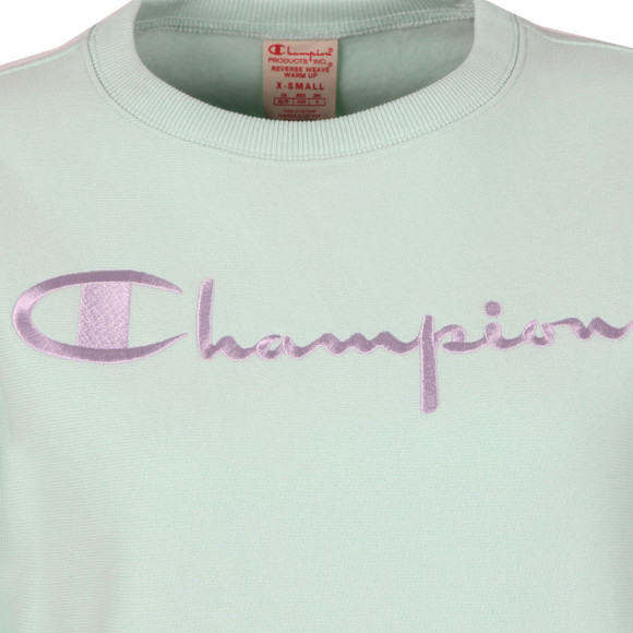 Champion Reverse Weave Womens Green Large Script Logo Crew Sweatshirt main image