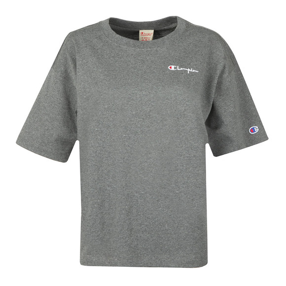 Champion Womens Grey Small Script Logo Cropped T Shirt main image