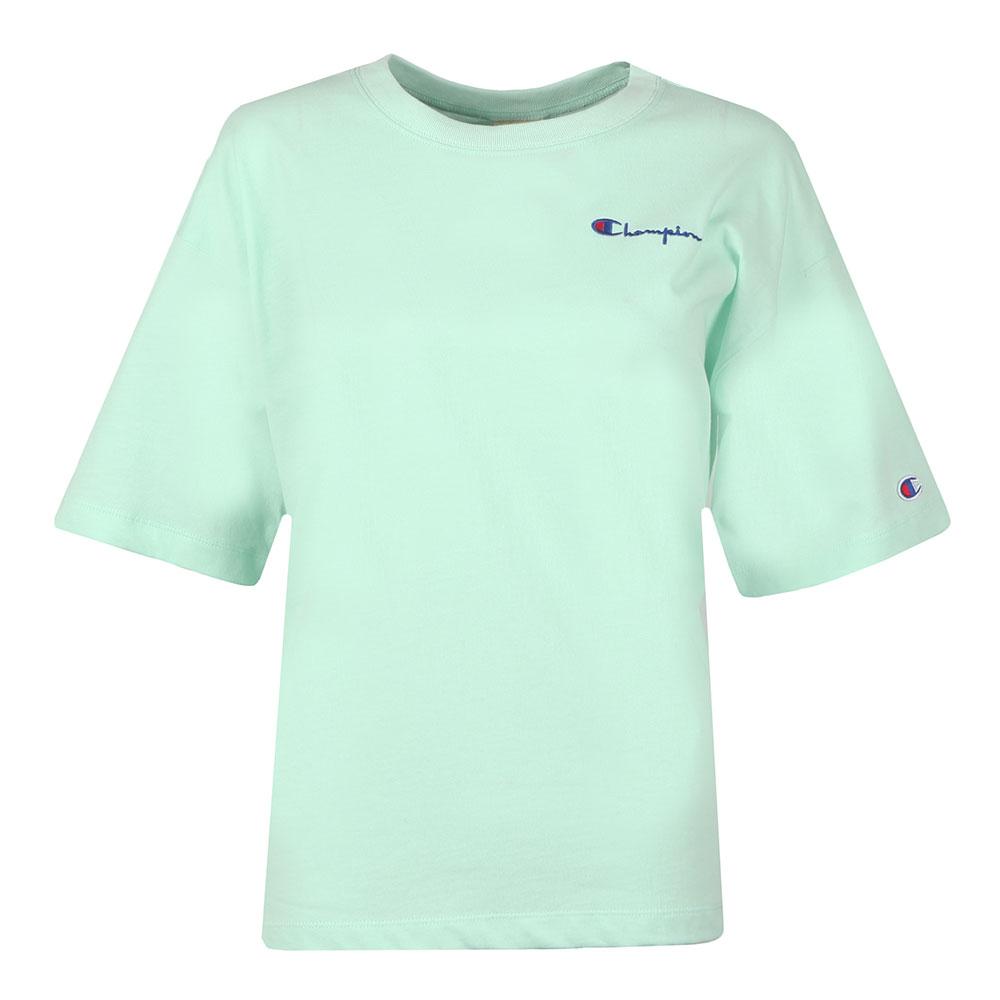 edab5395 Champion Womens Green Small Script Logo Cropped T Shirt